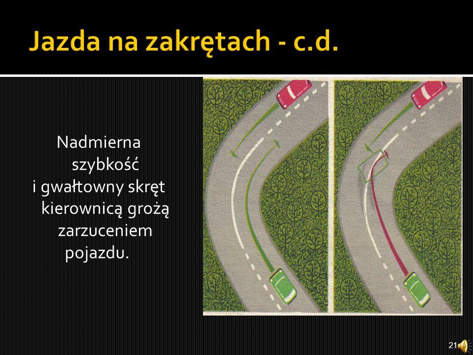 Przy pokonywaniu zakrętów trzeba brać pod uwagę stan jezdni; śliska jezdnia grozi utratą panowania nad pojazdem. 20