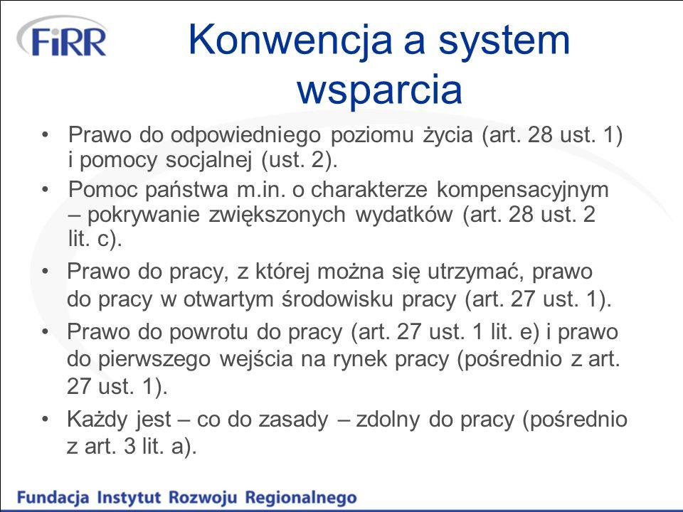 Konwencja a system wsparcia Prawo do odpowiedniego poziomu życia (art. 28 ust. 1) i pomocy socjalnej (ust. 2). Pomoc państwa m.in. o charakterze kompe