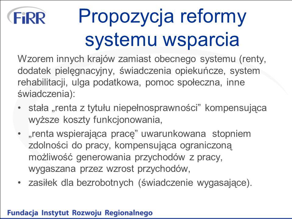 Propozycja reformy systemu wsparcia Wzorem innych krajów zamiast obecnego systemu (renty, dodatek pielęgnacyjny, świadczenia opiekuńcze, system rehabi
