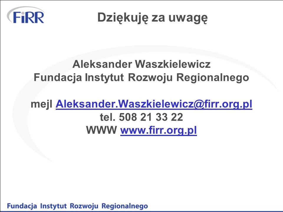 Dziękuję za uwagę Aleksander Waszkielewicz Fundacja Instytut Rozwoju Regionalnego mejl Aleksander.Waszkielewicz@firr.org.pl tel. 508 21 33 22 WWW www.
