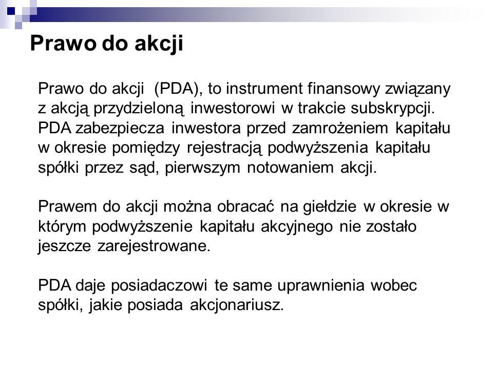 Prawo do akcji Prawo do akcji (PDA), to instrument finansowy związany z akcją przydzieloną inwestorowi w trakcie subskrypcji. PDA zabezpiecza inwestor