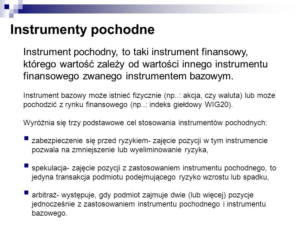 Instrumenty pochodne Instrument pochodny, to taki instrument finansowy, którego wartość zależy od wartości innego instrumentu finansowego zwanego inst