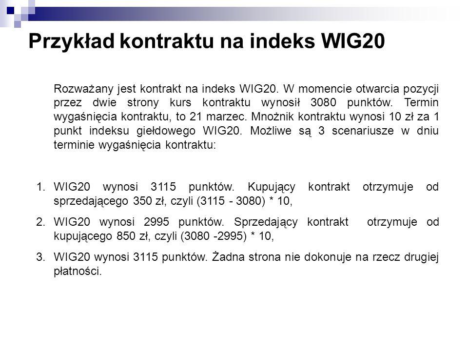 Przykład kontraktu na indeks WIG20 Rozważany jest kontrakt na indeks WIG20. W momencie otwarcia pozycji przez dwie strony kurs kontraktu wynosił 3080