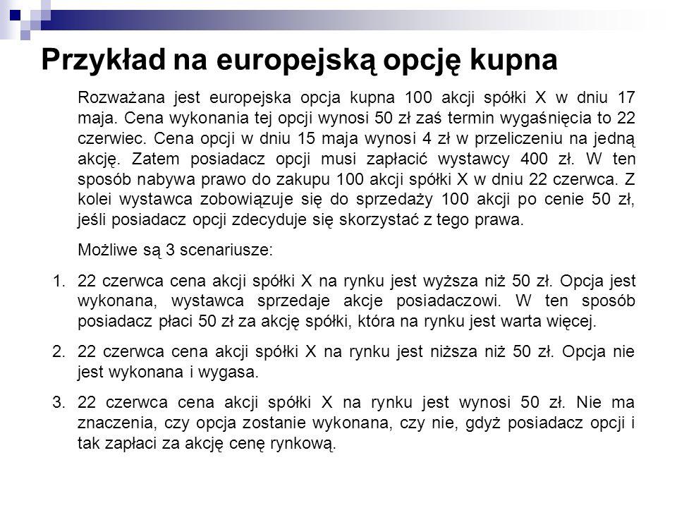 Przykład na europejską opcję kupna Rozważana jest europejska opcja kupna 100 akcji spółki X w dniu 17 maja. Cena wykonania tej opcji wynosi 50 zł zaś