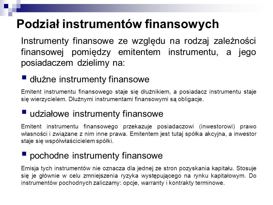 Podział instrumentów finansowych Instrumenty finansowe ze względu na rodzaj zależności finansowej pomiędzy emitentem instrumentu, a jego posiadaczem d
