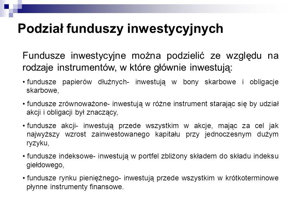 Podział funduszy inwestycyjnych Fundusze inwestycyjne można podzielić ze względu na rodzaje instrumentów, w które głównie inwestują: fundusze papierów