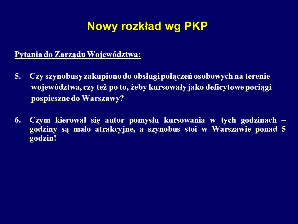 Nowy rozkład wg PKP Pytania do Zarządu Województwa: 5.Czy szynobusy zakupiono do obsługi połączeń osobowych na terenie województwa, czy też po to, żeb