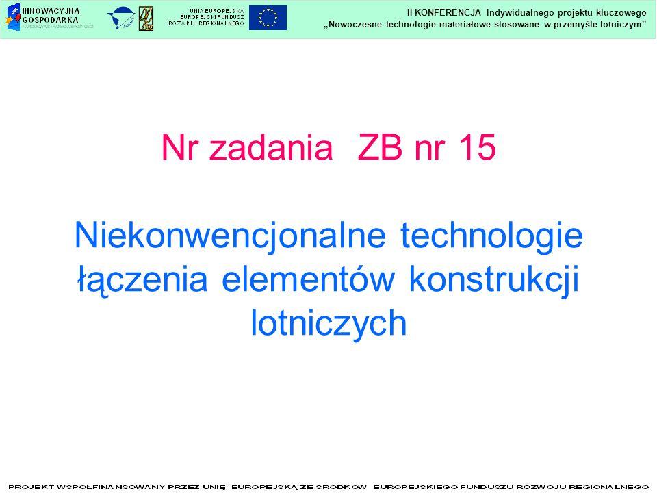 Nr zadania ZB nr 15 Niekonwencjonalne technologie łączenia elementów konstrukcji lotniczych Nowoczesne technologie materiałowe stosowane w przemyśle l