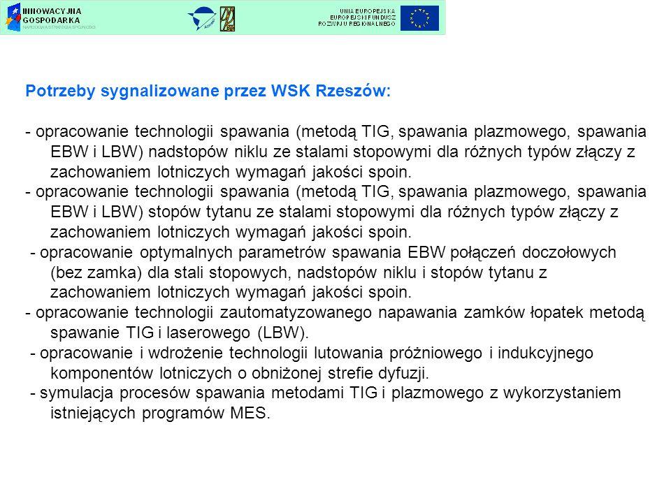 Potrzeby sygnalizowane przez WSK Rzeszów: - opracowanie technologii spawania (metodą TIG, spawania plazmowego, spawania EBW i LBW) nadstopów niklu ze