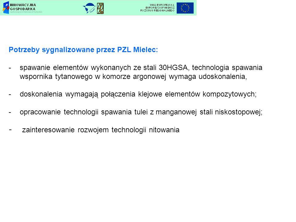 Potrzeby sygnalizowane przez PZL Mielec: -spawanie elementów wykonanych ze stali 30HGSA, technologia spawania wspornika tytanowego w komorze argonowej