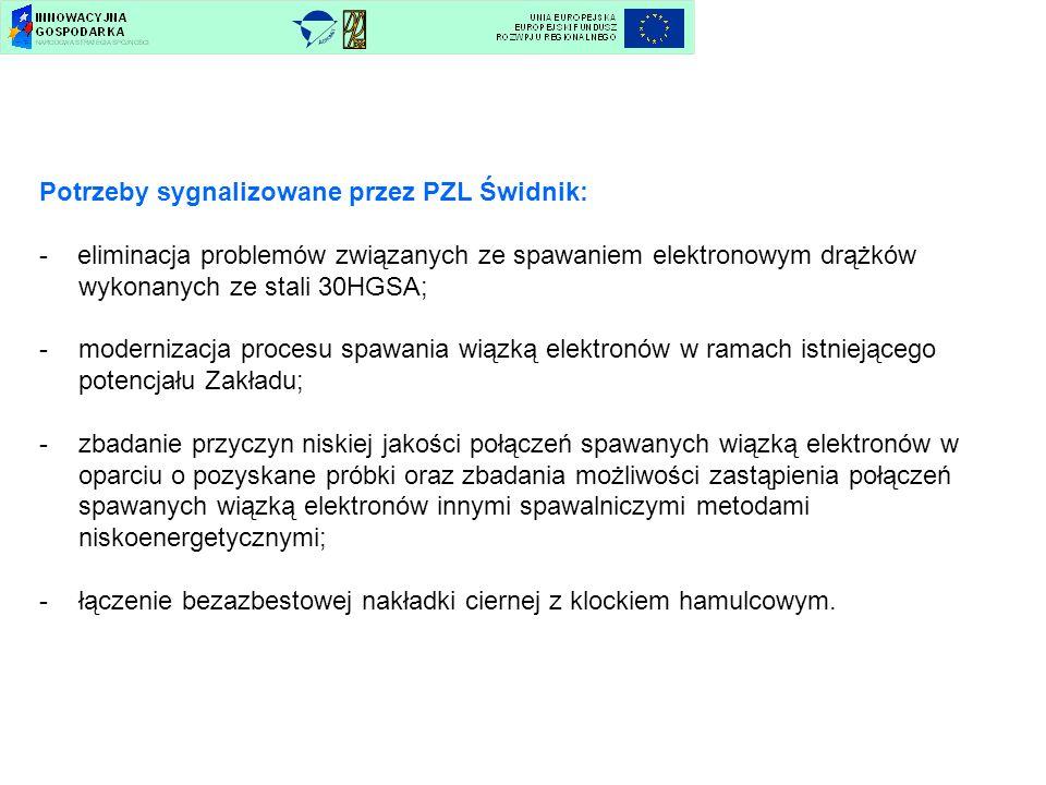 Potrzeby sygnalizowane przez PZL Świdnik: - eliminacja problemów związanych ze spawaniem elektronowym drążków wykonanych ze stali 30HGSA; -modernizacj