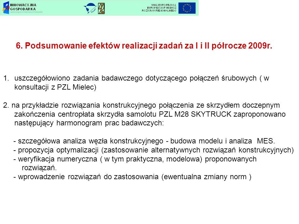 6. Podsumowanie efektów realizacji zadań za I i II półrocze 2009r. 1.uszczegółowiono zadania badawczego dotyczącego połączeń śrubowych ( w konsultacji