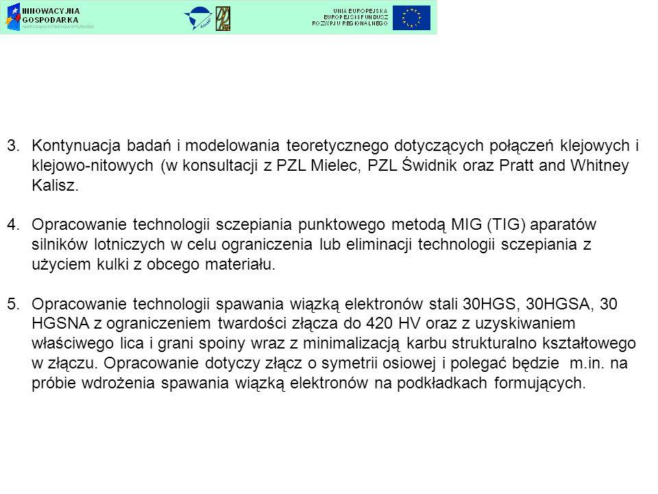 3.Kontynuacja badań i modelowania teoretycznego dotyczących połączeń klejowych i klejowo-nitowych (w konsultacji z PZL Mielec, PZL Świdnik oraz Pratt
