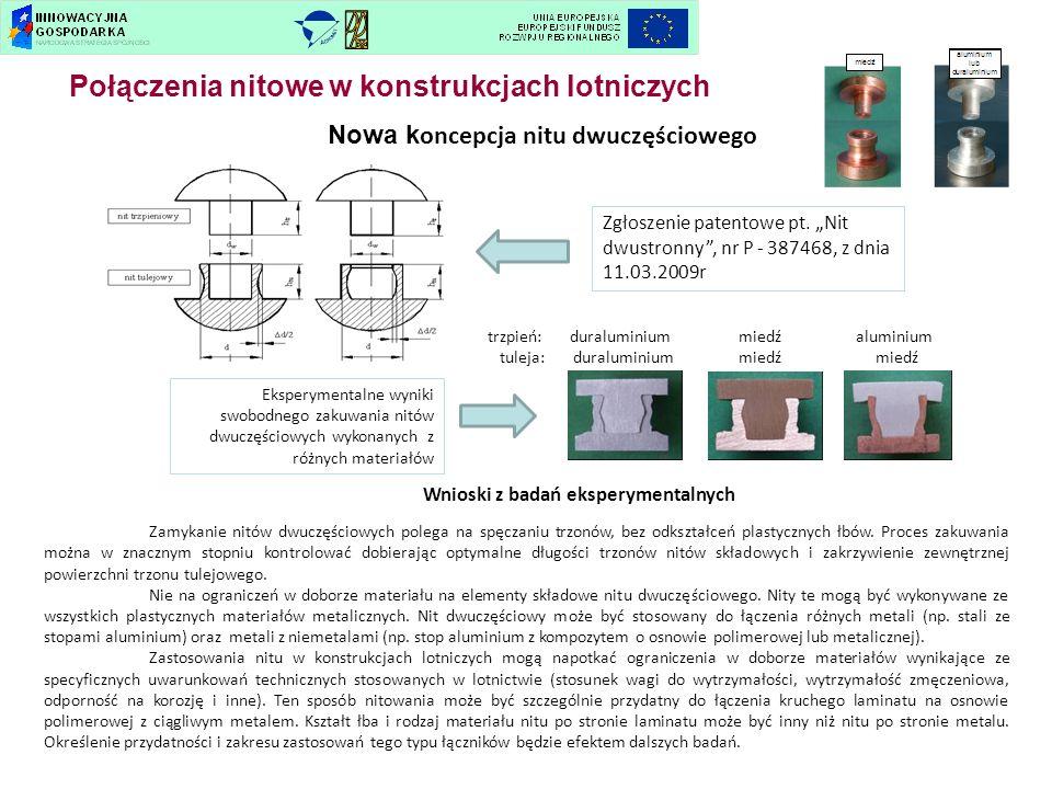 Nowa k oncepcja nitu dwuczęściowego Zgłoszenie patentowe pt. Nit dwustronny, nr P - 387468, z dnia 11.03.2009r Eksperymentalne wyniki swobodnego zakuw