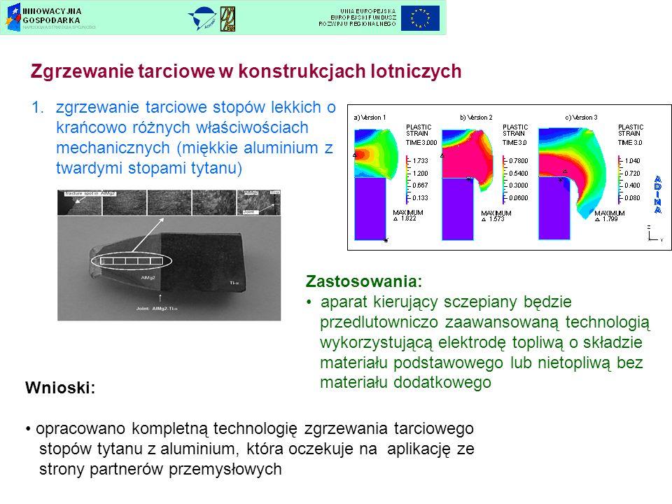 Zgrzewanie tarciowe w konstrukcjach lotniczych 1.zgrzewanie tarciowe stopów lekkich o krańcowo różnych właściwościach mechanicznych (miękkie aluminium