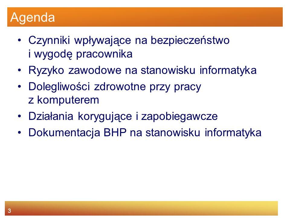 3 Agenda Czynniki wpływające na bezpieczeństwo i wygodę pracownika Ryzyko zawodowe na stanowisku informatyka Dolegliwości zdrowotne przy pracy z kompu