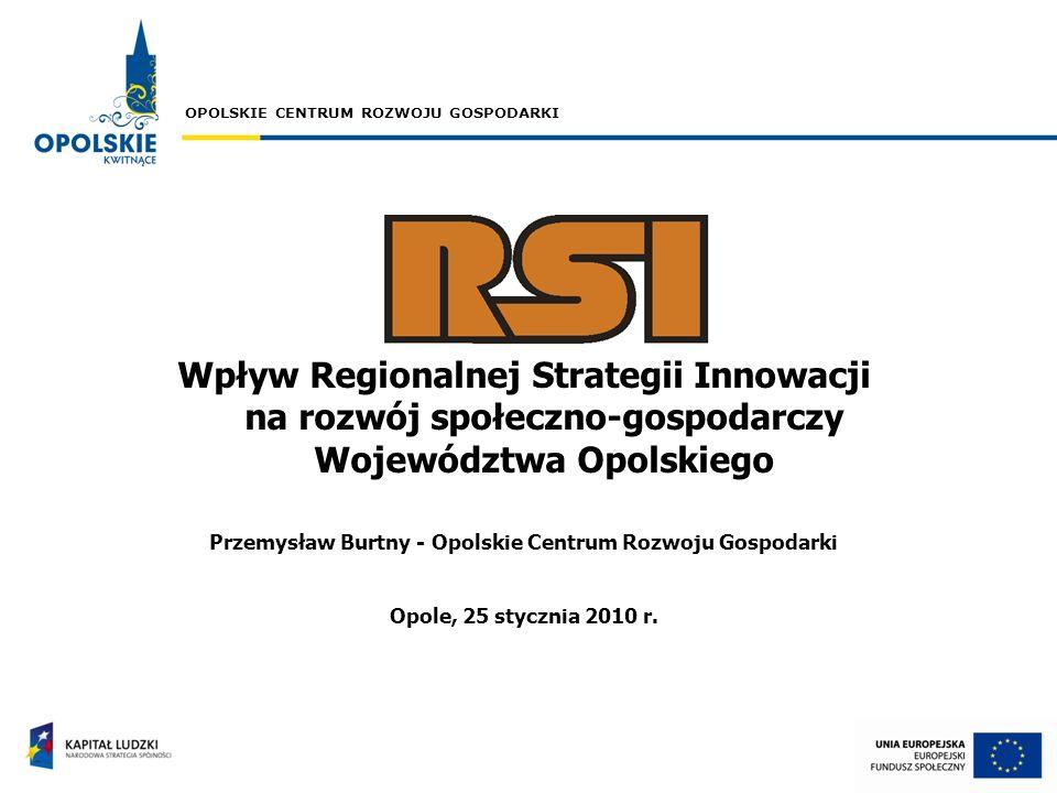 OPOLSKIE CENTRUM ROZWOJU GOSPODARKI Wpływ Regionalnej Strategii Innowacji na rozwój społeczno-gospodarczy Województwa Opolskiego Przemysław Burtny - O