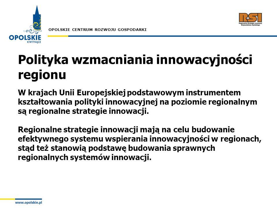 OPOLSKIE CENTRUM ROZWOJU GOSPODARKI Polityka wzmacniania innowacyjności regionu W krajach Unii Europejskiej podstawowym instrumentem kształtowania pol