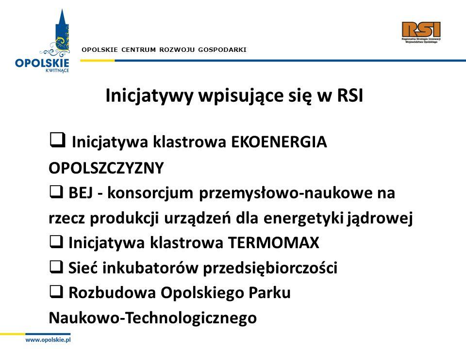OPOLSKIE CENTRUM ROZWOJU GOSPODARKI Inicjatywy wpisujące się w RSI Inicjatywa klastrowa EKOENERGIA OPOLSZCZYZNY BEJ - konsorcjum przemysłowo-naukowe n