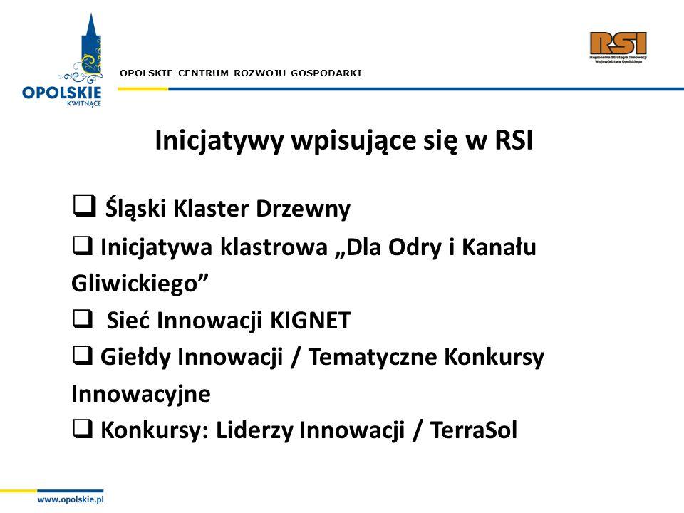 OPOLSKIE CENTRUM ROZWOJU GOSPODARKI Inicjatywy wpisujące się w RSI Śląski Klaster Drzewny Inicjatywa klastrowa Dla Odry i Kanału Gliwickiego Sieć Inno