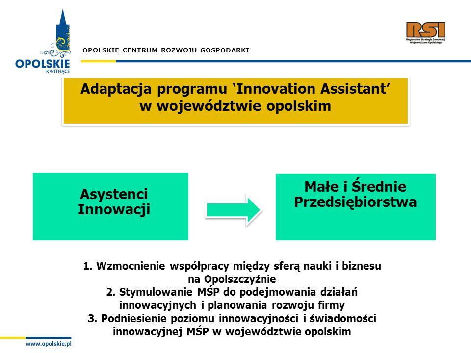 OPOLSKIE CENTRUM ROZWOJU GOSPODARKI Adaptacja programu Innovation Assistant w województwie opolskim Asystenci Innowacji Małe i Średnie Przedsiębiorstw