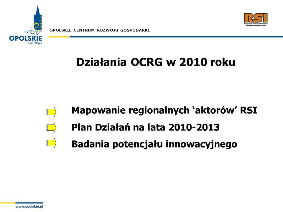 OPOLSKIE CENTRUM ROZWOJU GOSPODARKI Działania OCRG w 2010 roku Mapowanie regionalnych aktorów RSI Plan Działań na lata 2010-2013 Badania potencjału in