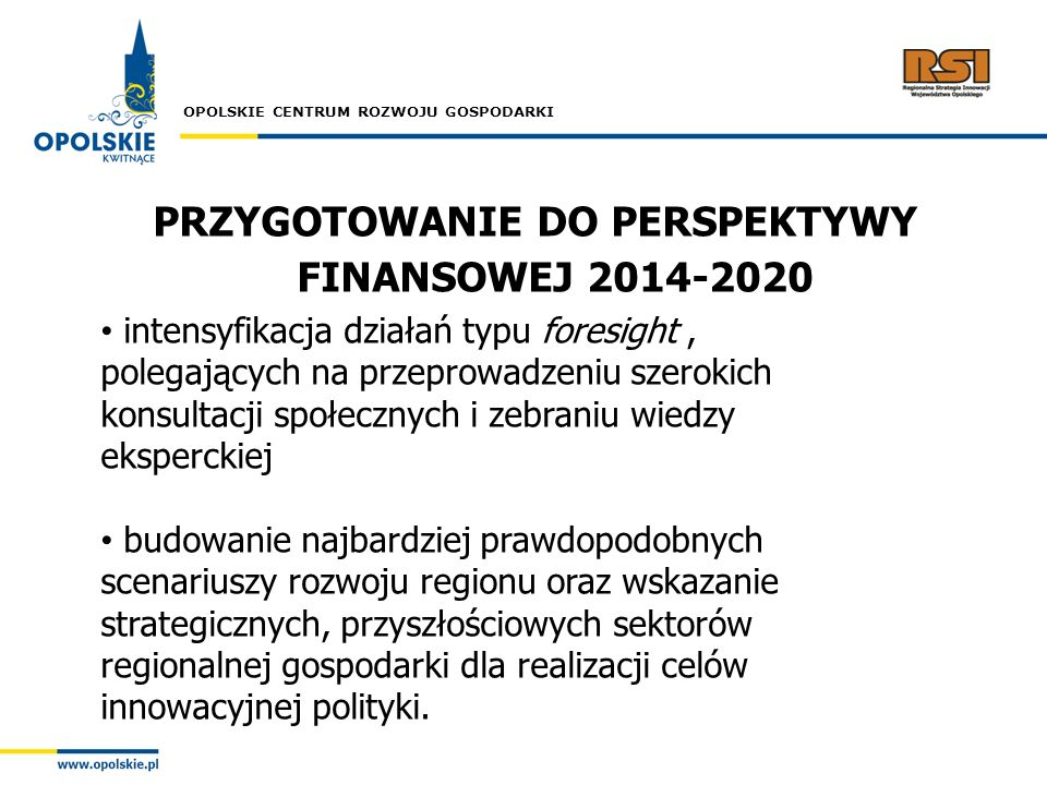 OPOLSKIE CENTRUM ROZWOJU GOSPODARKI PRZYGOTOWANIE DO PERSPEKTYWY FINANSOWEJ 2014-2020 intensyfikacja działań typu foresight, polegających na przeprowa
