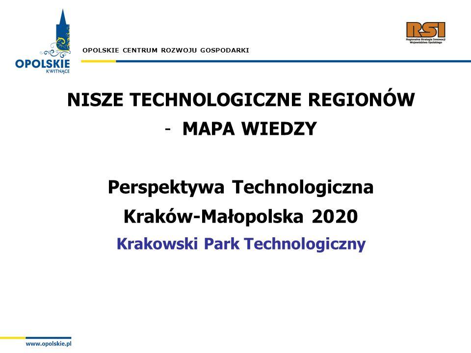 OPOLSKIE CENTRUM ROZWOJU GOSPODARKI NISZE TECHNOLOGICZNE REGIONÓW -MAPA WIEDZY Perspektywa Technologiczna Kraków-Małopolska 2020 Krakowski Park Techno