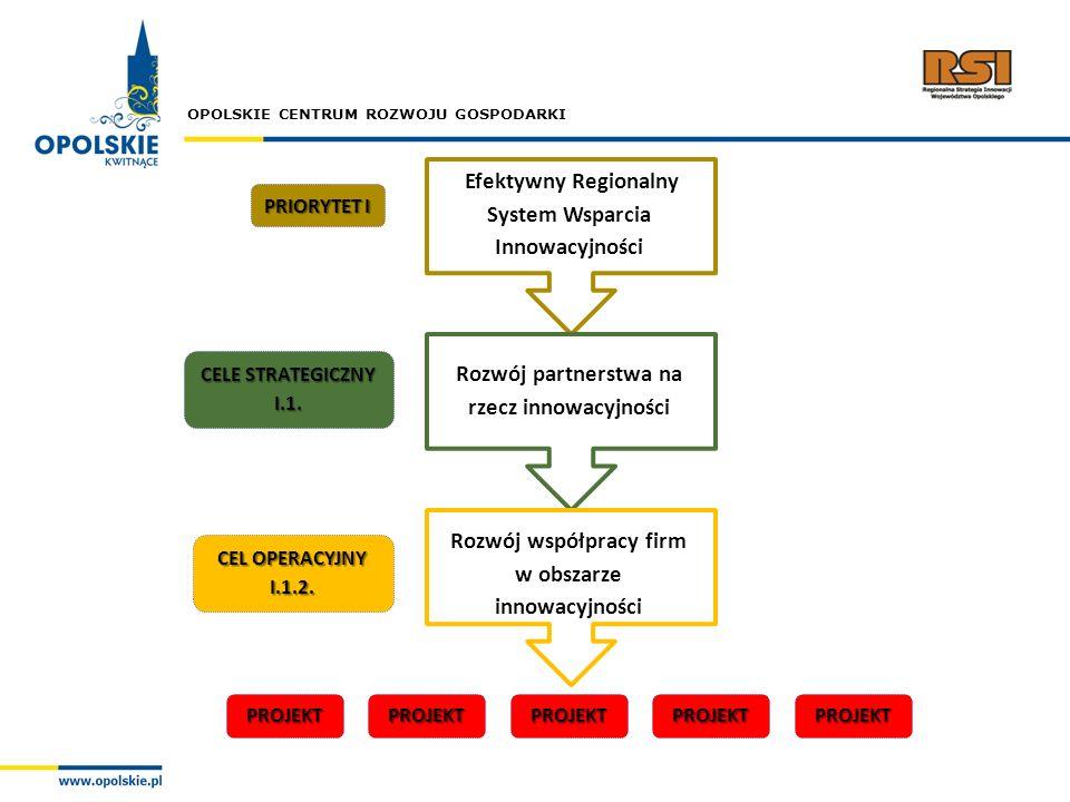 OPOLSKIE CENTRUM ROZWOJU GOSPODARKI Efektywny Regionalny System Wsparcia Innowacyjności PRIORYTET I CELE STRATEGICZNY I.1. CEL OPERACYJNY I.1.2. Rozwó