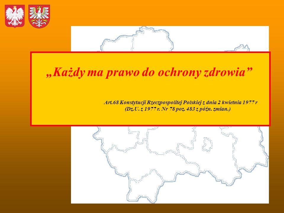 Każdy ma prawo do ochrony zdrowia Art.68 Konstytucji Rzeczpospolitej Polskiej z dnia 2 kwietnia 1977 r (Dz.U. z 1977 r. Nr 78 poz. 483 z późn. zmian.)