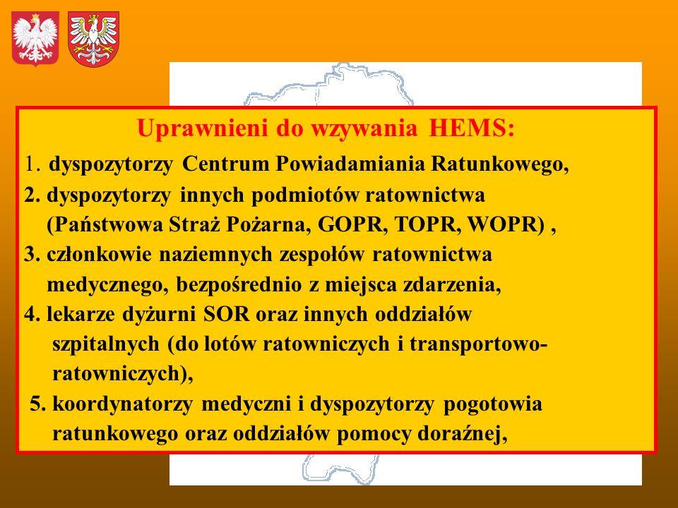Uprawnieni do wzywania HEMS: 1. dyspozytorzy Centrum Powiadamiania Ratunkowego, 2. dyspozytorzy innych podmiotów ratownictwa (Państwowa Straż Pożarna,