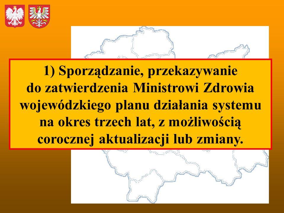 1) Sporządzanie, przekazywanie do zatwierdzenia Ministrowi Zdrowia wojewódzkiego planu działania systemu na okres trzech lat, z możliwością corocznej