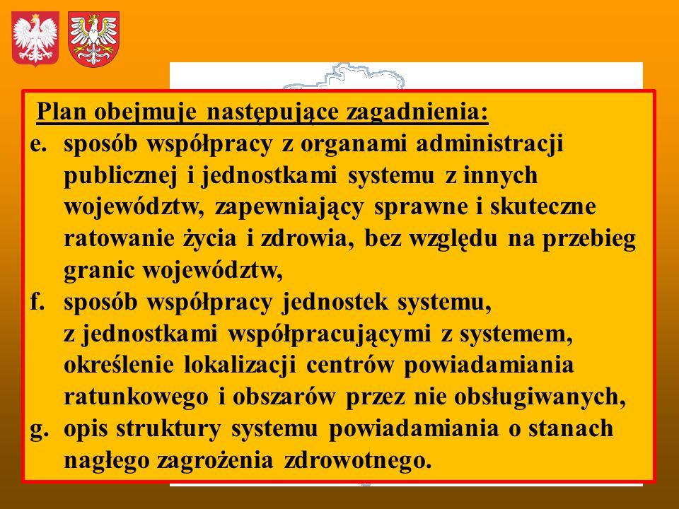 Plan obejmuje następujące zagadnienia: e.sposób współpracy z organami administracji publicznej i jednostkami systemu z innych województw, zapewniający