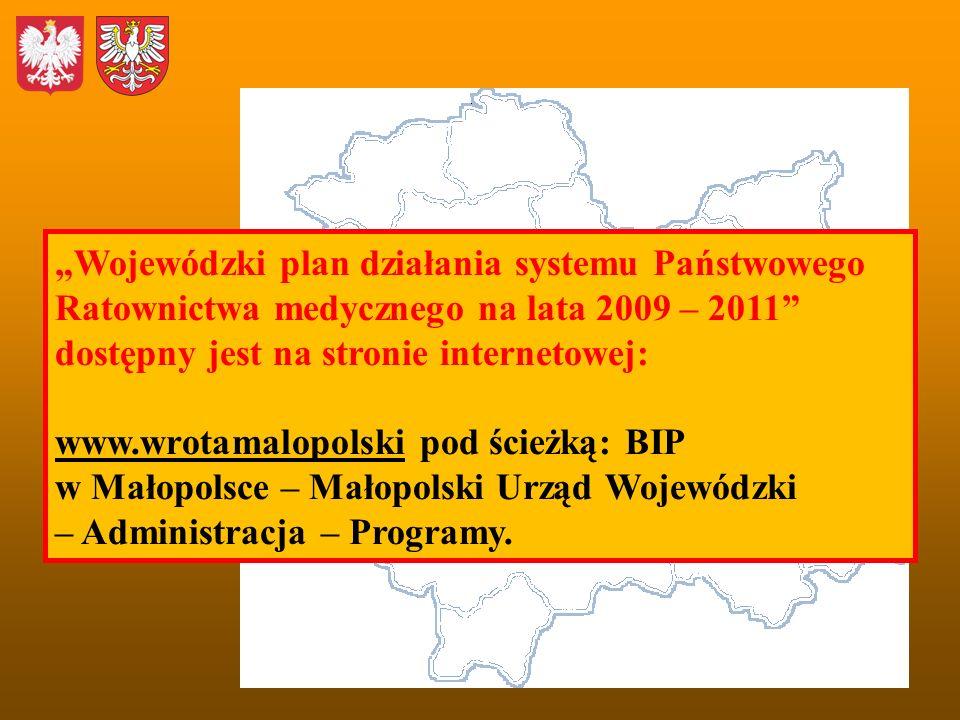 Wojewódzki plan działania systemu Państwowego Ratownictwa medycznego na lata 2009 – 2011 dostępny jest na stronie internetowej: www.wrotamalopolski po