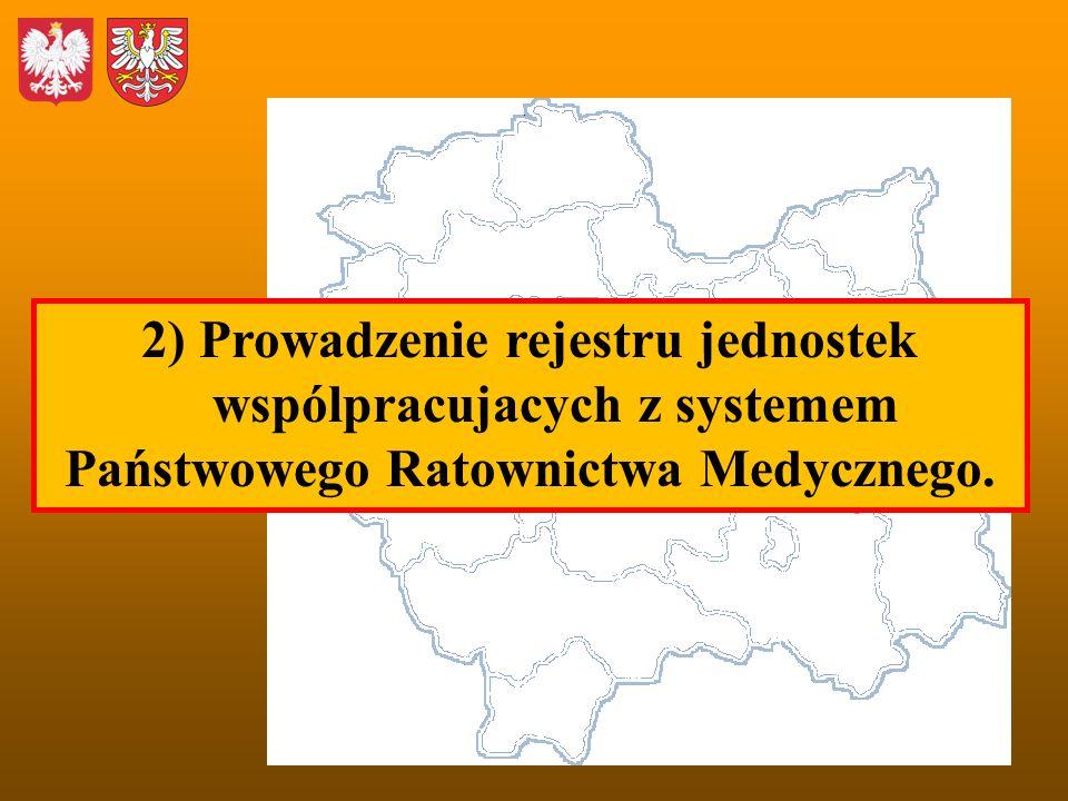 2) Prowadzenie rejestru jednostek wspólpracujacych z systemem Państwowego Ratownictwa Medycznego.
