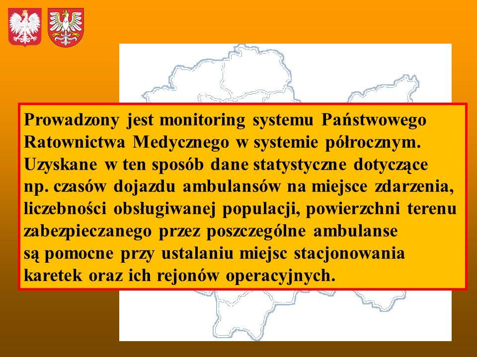 Prowadzony jest monitoring systemu Państwowego Ratownictwa Medycznego w systemie półrocznym. Uzyskane w ten sposób dane statystyczne dotyczące np. cza