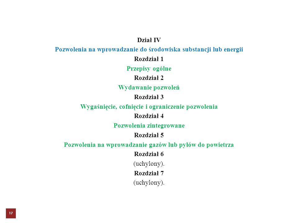 Dział IV Pozwolenia na wprowadzanie do środowiska substancji lub energii Rozdział 1 Przepisy ogólne Rozdział 2 Wydawanie pozwoleń Rozdział 3 Wygaśnięc