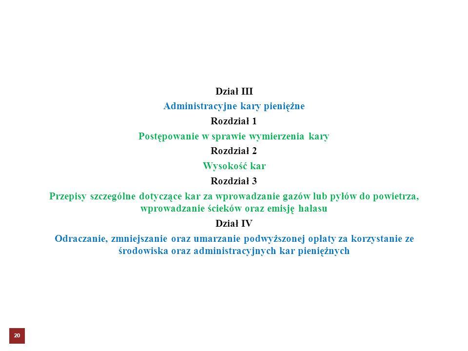 Dział III Administracyjne kary pieniężne Rozdział 1 Postępowanie w sprawie wymierzenia kary Rozdział 2 Wysokość kar Rozdział 3 Przepisy szczególne dot