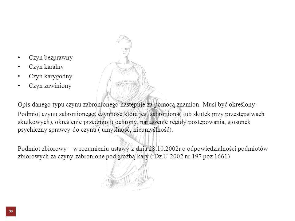 Czyn bezprawny Czyn karalny Czyn karygodny Czyn zawiniony Opis danego typu czynu zabronionego następuje za pomocą znamion. Musi być określony: Podmiot