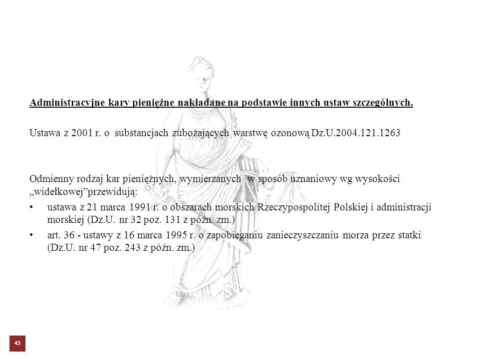 Administracyjne kary pieniężne nakładane na podstawie innych ustaw szczególnych. Ustawa z 2001 r. o substancjach zubożających warstwę ozonową Dz.U.200