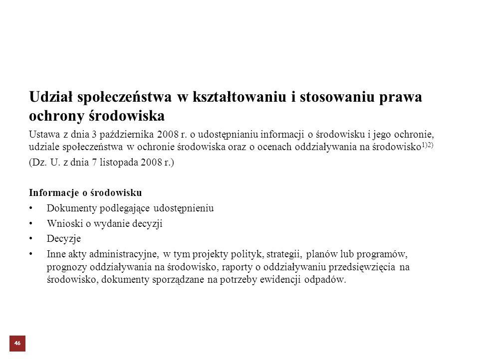 Udział społeczeństwa w kształtowaniu i stosowaniu prawa ochrony środowiska Ustawa z dnia 3 października 2008 r. o udostępnianiu informacji o środowisk