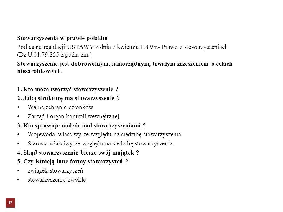 Stowarzyszenia w prawie polskim Podlegają regulacji USTAWY z dnia 7 kwietnia 1989 r.- Prawo o stowarzyszeniach (Dz.U.01.79.855 z późn. zm.) Stowarzysz