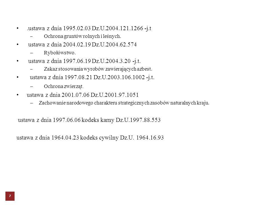 .ustawa z dnia 1995.02.03 Dz.U.2004.121.1266 -j.t – Ochrona gruntów rolnych i leśnych. ustawa z dnia 2004.02.19 Dz.U.2004.62.574 – Rybołówstwo. ustawa
