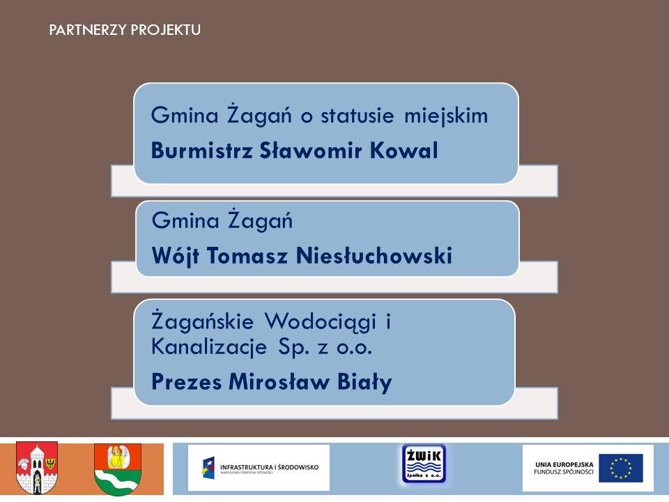 PARTNERZY PROJEKTU Gmina Żagań o statusie miejskim Burmistrz Sławomir Kowal Gmina Żagań Wójt Tomasz Niesłuchowski Żagańskie Wodociągi i Kanalizacje Sp
