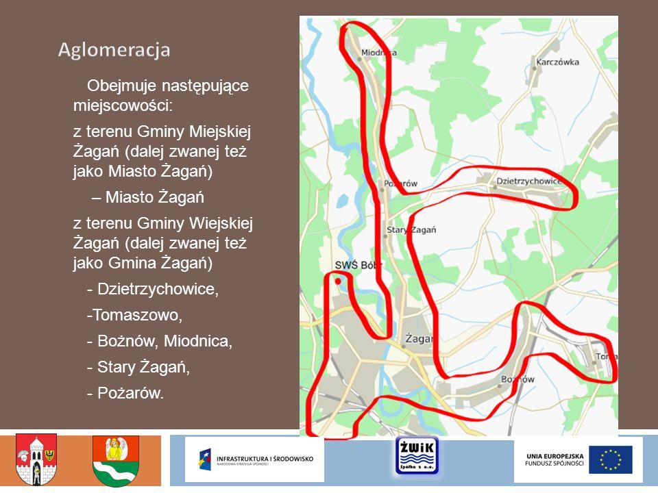 Obejmuje następujące miejscowości: z terenu Gminy Miejskiej Żagań (dalej zwanej też jako Miasto Żagań) – Miasto Żagań z terenu Gminy Wiejskiej Żagań (