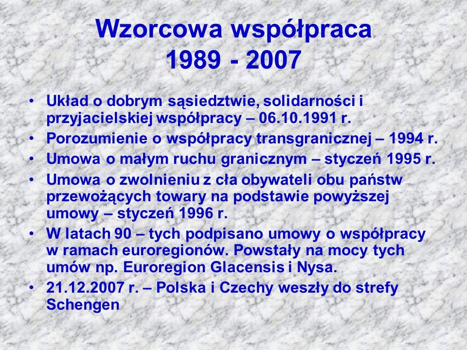 Wzorcowa współpraca 1989 - 2007 Układ o dobrym sąsiedztwie, solidarności i przyjacielskiej współpracy – 06.10.1991 r. Porozumienie o współpracy transg