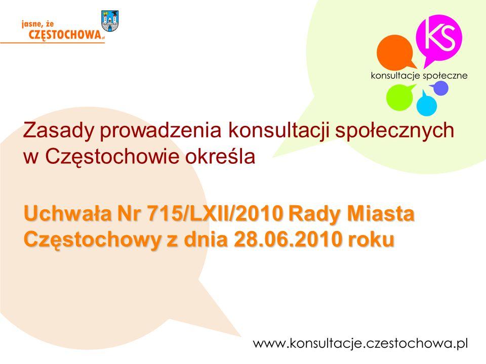 Inicjatywę przeprowadzenia konsultacji mają: Prezydent Miasta Częstochowy, Radni Miasta Częstochowy w liczbie co najmniej 5, 10 członków rad dzielnic, mieszkańcy miasta w liczbie co najmniej 100 osób posiadających czynne prawo wyborcze.