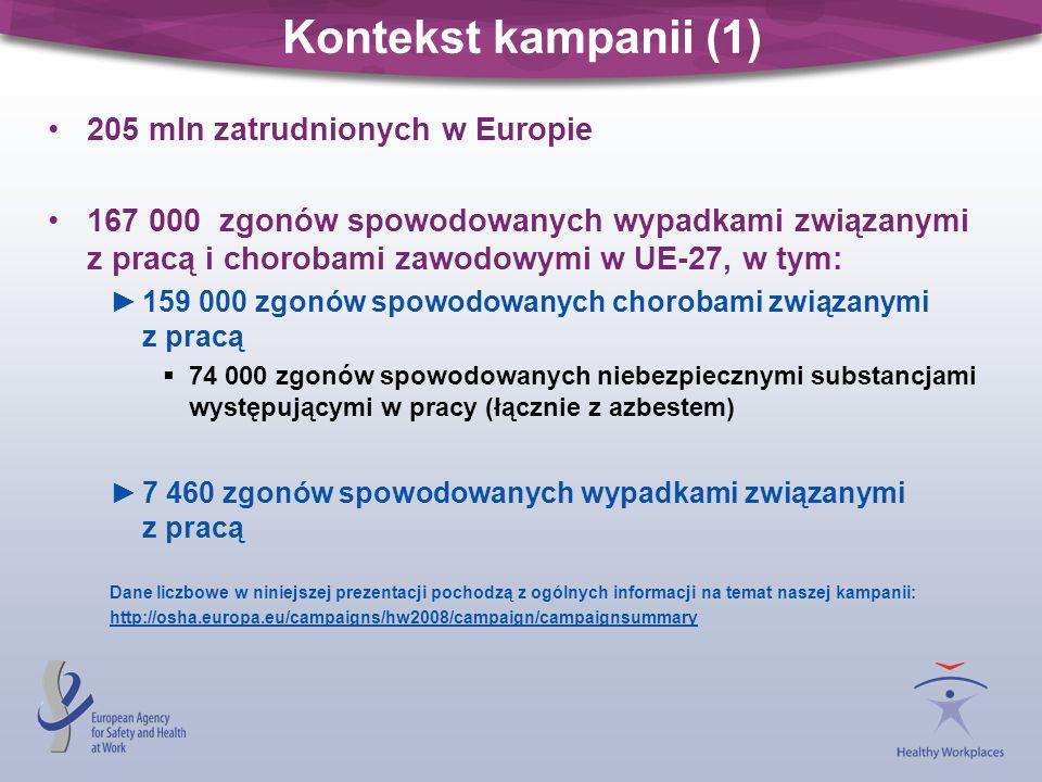 Kontekst kampanii (1) 205 mln zatrudnionych w Europie 167 000 zgonów spowodowanych wypadkami związanymi z pracą i chorobami zawodowymi w UE-27, w tym: