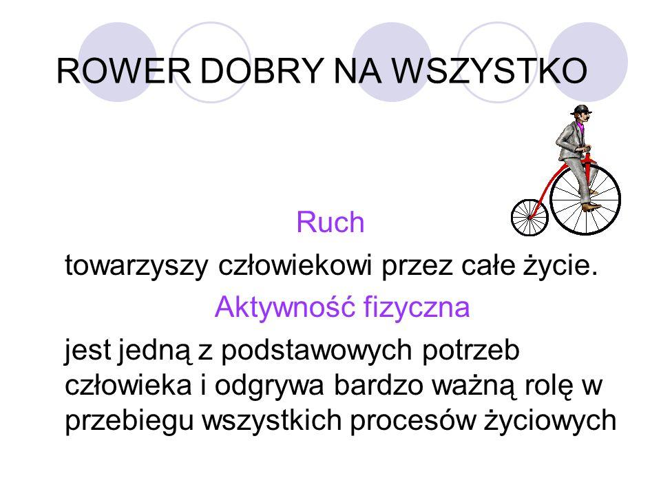 ROWER DOBRY NA WSZYSTKO Rower to doskonały sposób na zrzucenie zbędnych kilogramów.