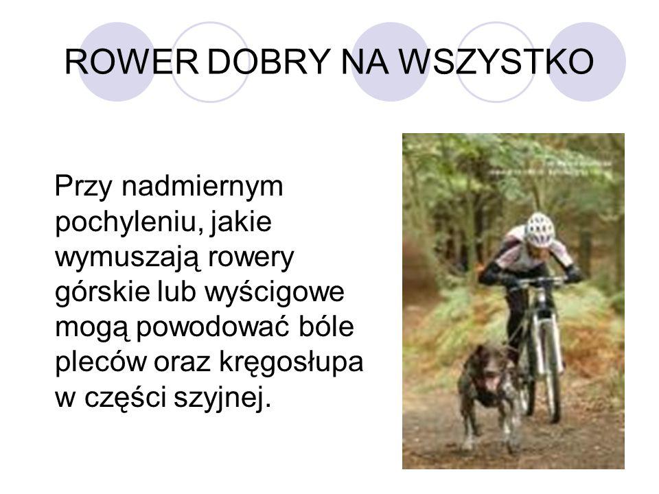 ROWER DOBRY NA WSZYSTKO Przy nadmiernym pochyleniu, jakie wymuszają rowery górskie lub wyścigowe mogą powodować bóle pleców oraz kręgosłupa w części s